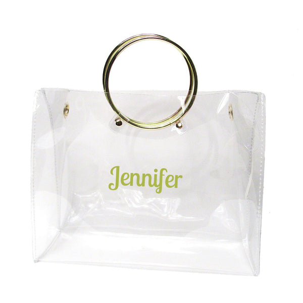 Clear Bag with Round Handle- Monogram