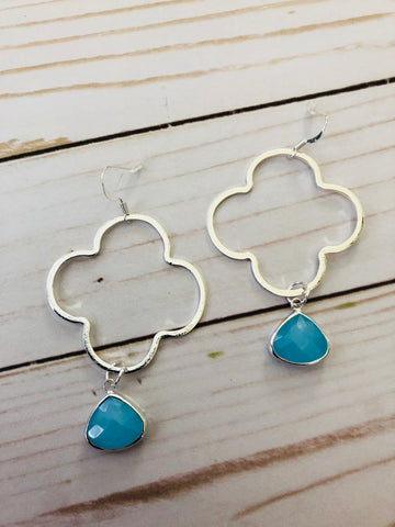 Catalina Drop Clover Earrings in 3 color choices - Bubbles Gift Shoppe
