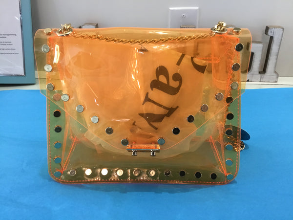 Orange Clear Studded Bag