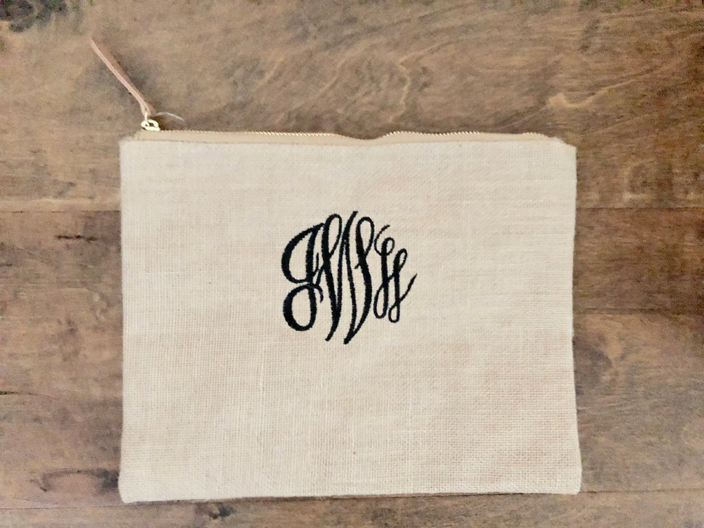 Burlap Clutch Bag- Monogram
