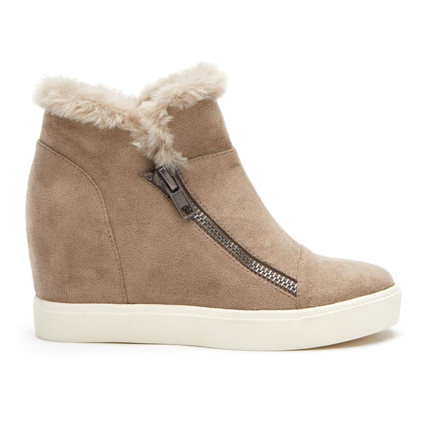 Wedge Faux Fur Zip Sneaker Booties