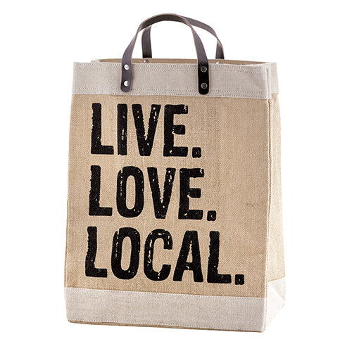 LIVE. LOVE. LOCAL Market Bag with Leather Handle - Bubbles Gift Shoppe