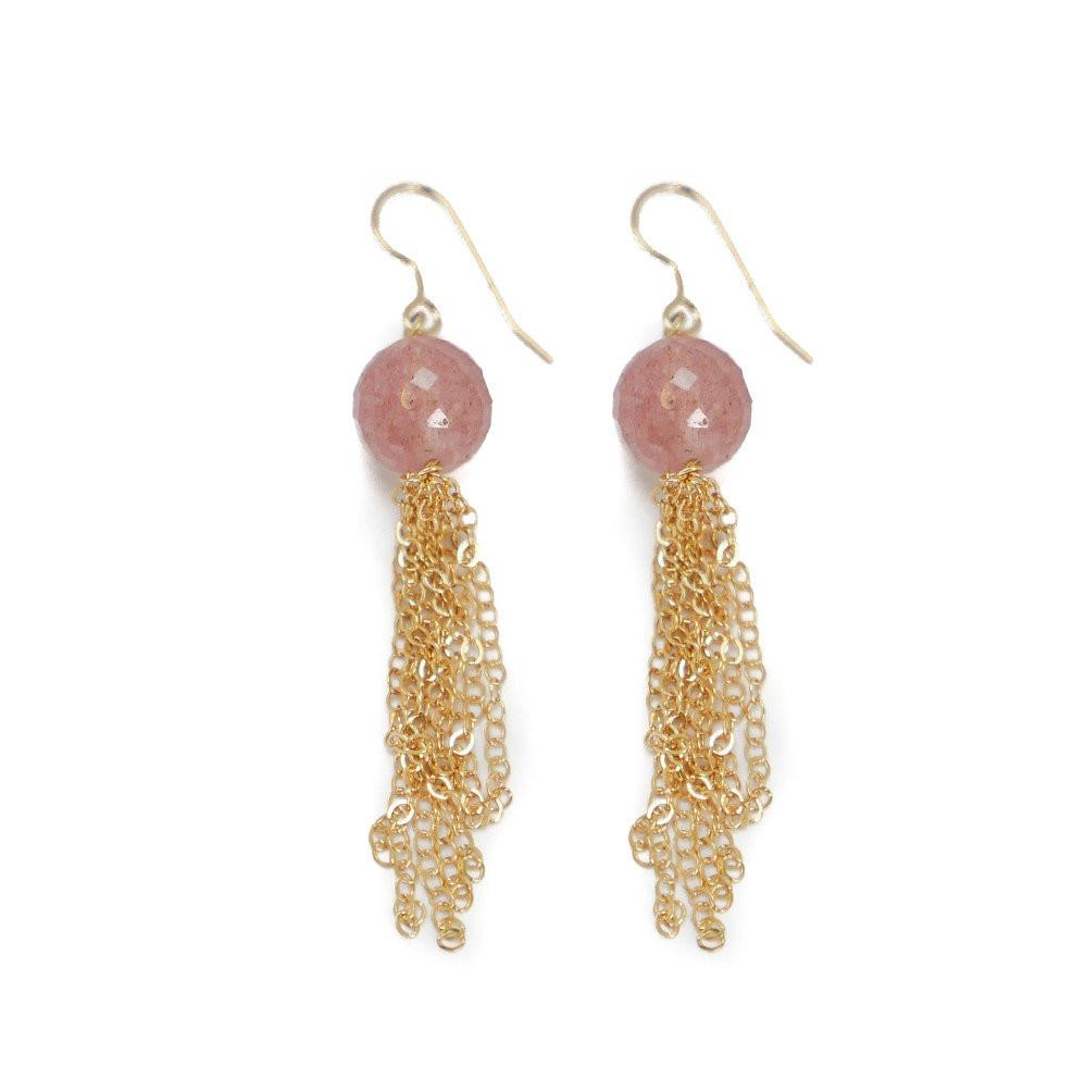 MORGAN STONE AND GOLD CHAIN EARRINGS- 4 colors - Bubbles Gift Shoppe