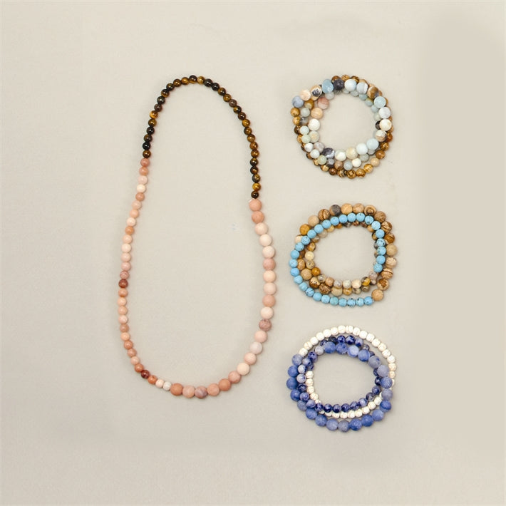 Multi Bead and Stone Necklace or Bracelet- 4 colors - Bubbles Gift Shoppe