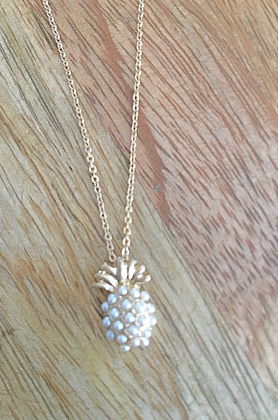 Pineapple and Stones or Pave Pendant Necklace - Bubbles Gift Shoppe