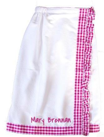 Pink Gingham Towel Wrap- Home Goods- Monogram - Bubbles Gift Shoppe