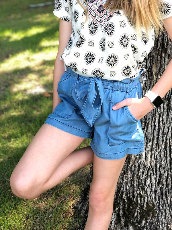 Softest Tencel Denim Shorts- Tween
