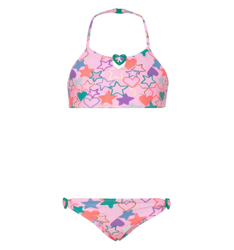 Girls Pink Love Beaded Heart Bikini