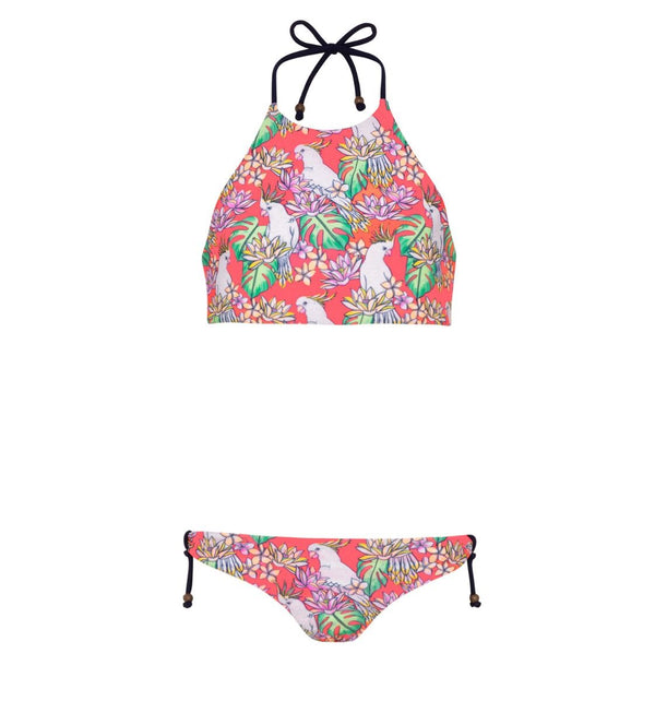 Girls Halter Bikini with Reversible Bottoms - 2 Colors