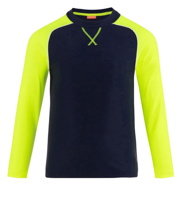 Boys Navy and Neon Long Sleeve Rash Guard