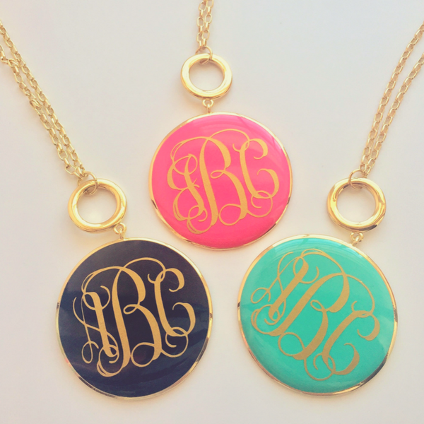 Enamel Toggle Necklace Gold- Monogram - Bubbles Gift Shoppe