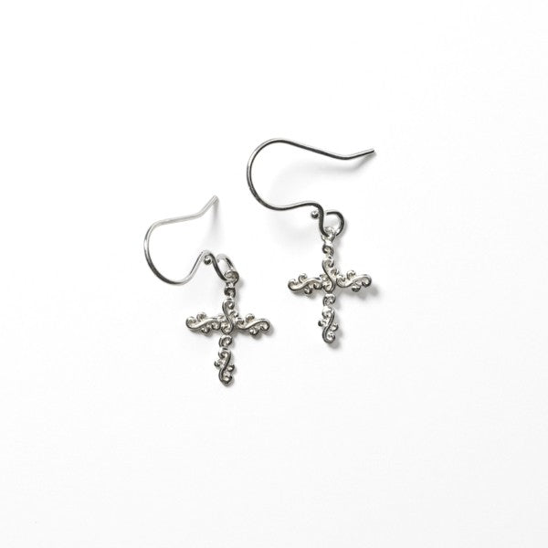 Southern Gates Scrolling Vine Cross Earrings