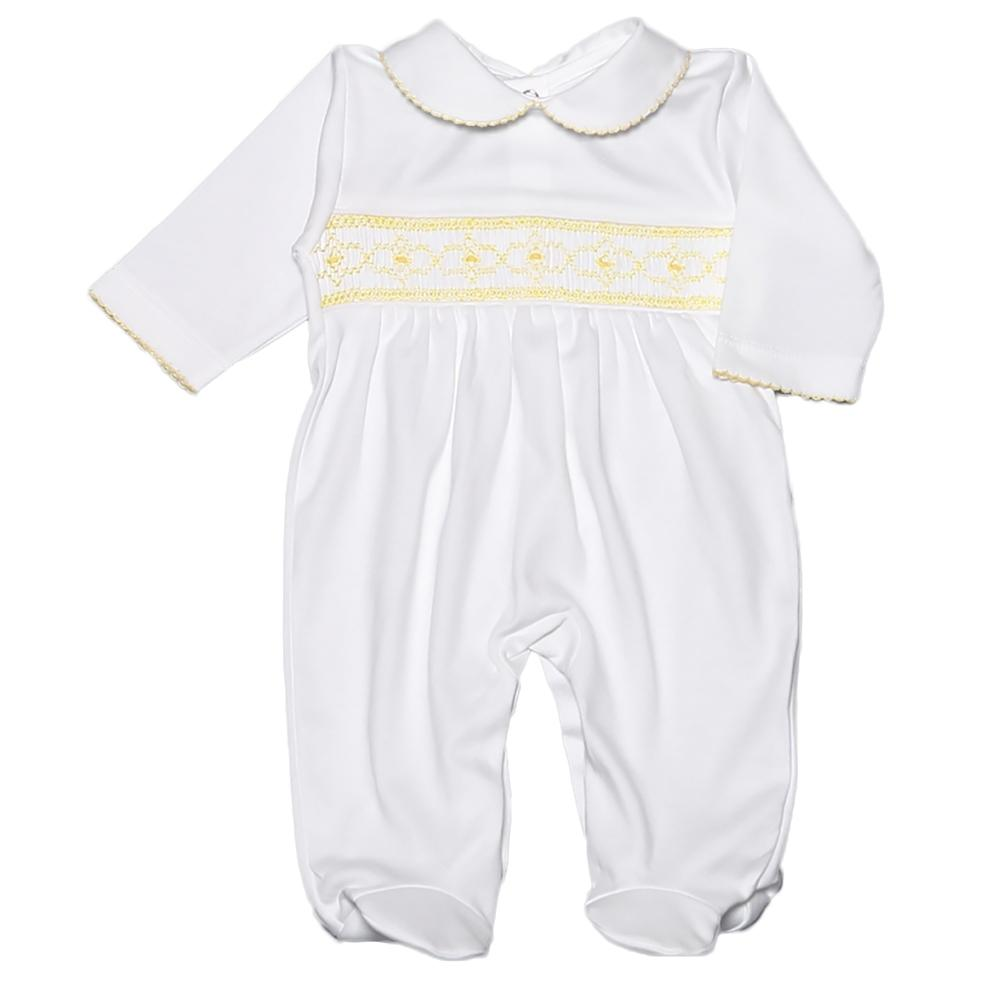 White & Yellow Hand Smocked Footie