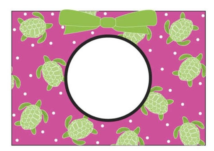 Turtle Fold Over Notecard- Monogram and Home Goods - Bubbles Gift Shoppe