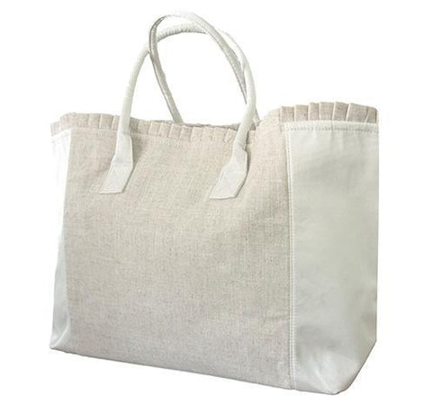 Linen Weekender Bag- Monogram - Bubbles Gift Shoppe