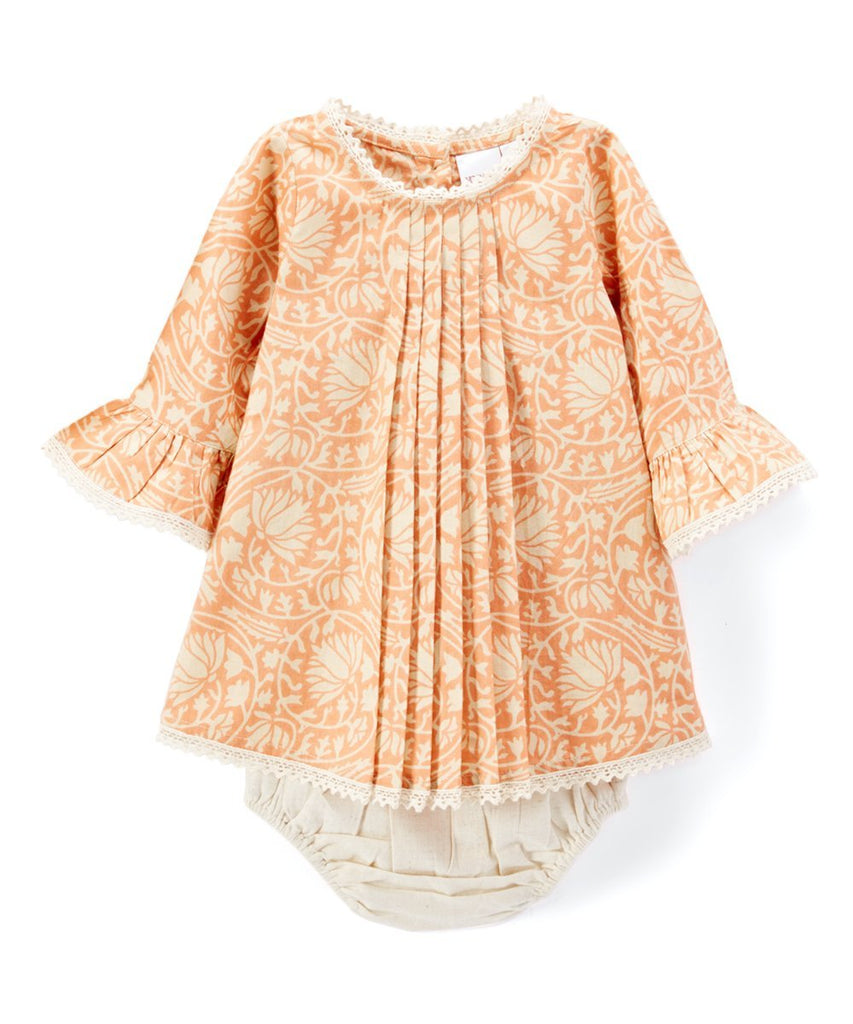Pleated Peach Shift Dress With Lace Details & Diaper Cover