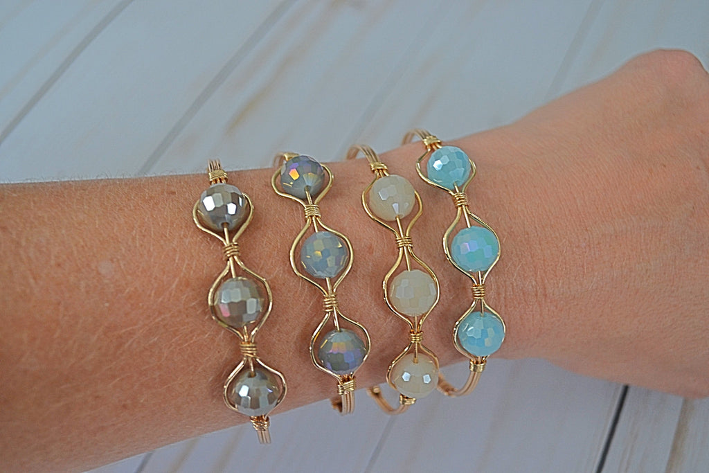 Crystal Gold Wire Wrapped Hinged Clasp Bracelet - Bubbles Gift Shoppe