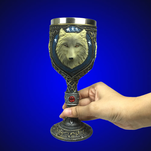 Celtic Resin Wolf Stainless Steel Goblet