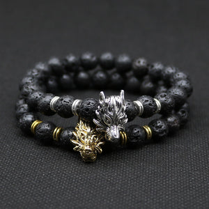 Natural Black Lava Silver Plated Wolf  Bracelet