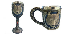3D Stainless Steel Resin Wolf Mug And Goblet Bundle