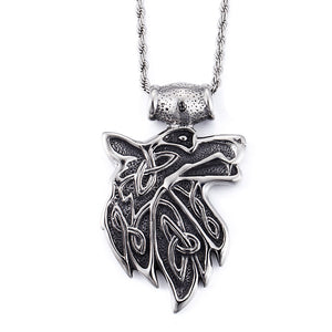 Unique Stainless Steel Wolf Head Necklace