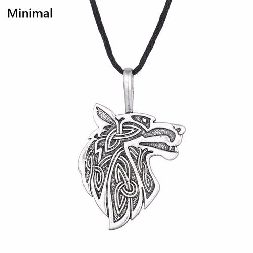 Wolf Viking Pendant & Rope Necklace
