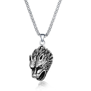 Stainless Steel Men Vintage Wolf Necklace