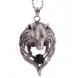 Tribal Wolf Head Necklace