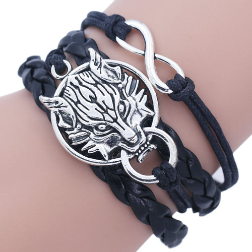 Antique Silver Wolf Head Infinity Unisex Charm Bracelet
