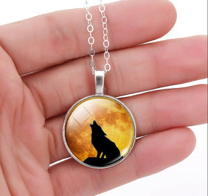 Silver Plated Glass Wolf Necklace