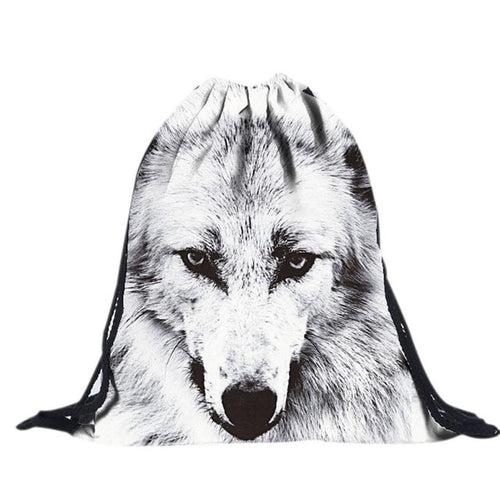 Cool Wolf Drawstring Backpack