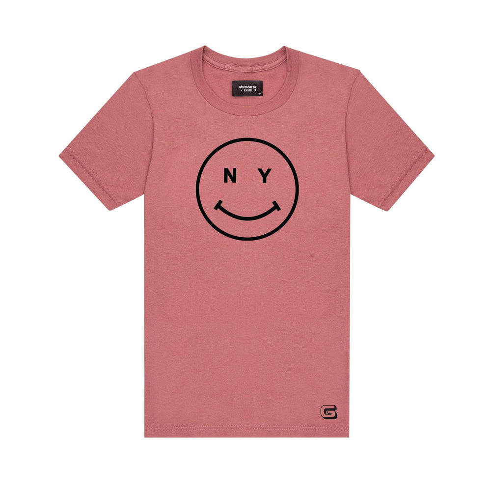 Giordana x Knowlita New York Smiley T-Shirt Pink