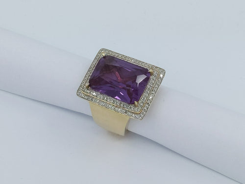 Large Deep Purple Amethyst & Diamond Ring