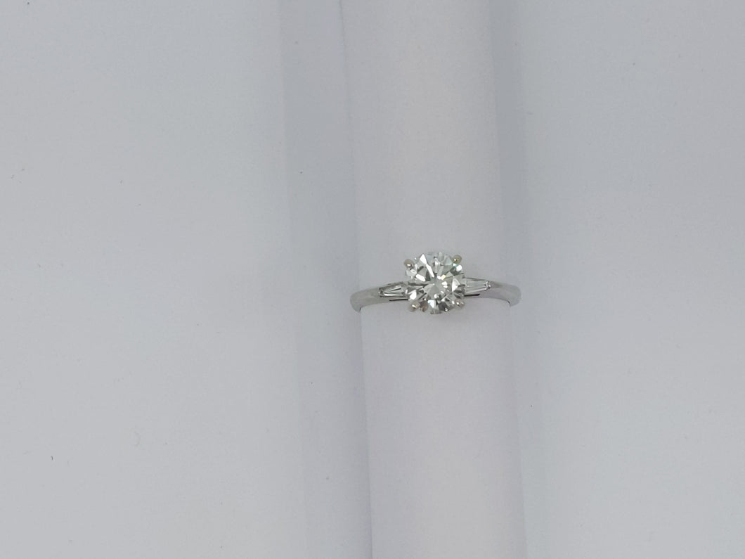 1.37 ct Round SI1 J Diamond (7.29x4.28) with 2 0.075 ct Tapered Baguette Diamonds 14kt White Gold Ring