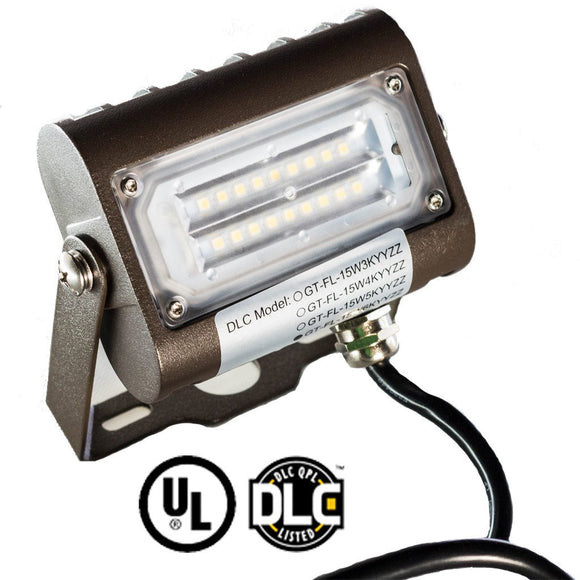 15W LED Flood Light, Yoke Mount, 6000K, UL Listed & DLC Qualified, 5 Year Warranty - 4 Pack - Green Solar LED