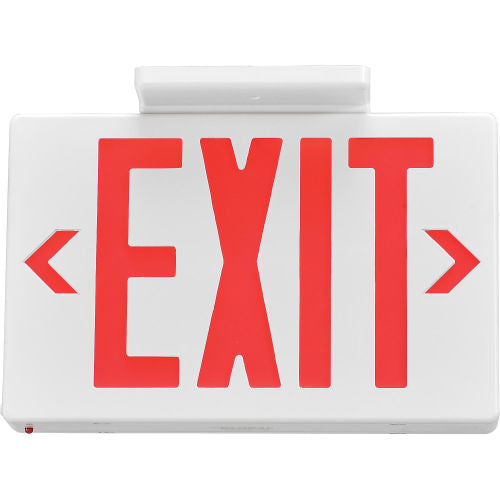 Exit LED Sign in Red Letters, Universal Mount, White Color, UL, with Power backup - Green Solar LED