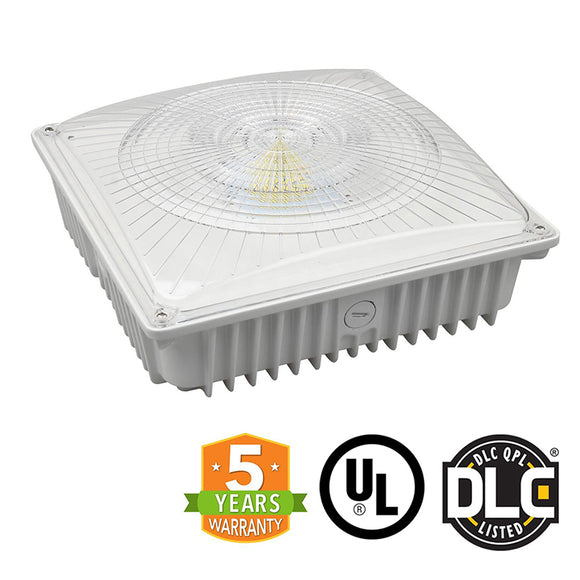 75W LED Canopy Light, Outdoor Gas Station Garage Parking Light, UL/DLC - Green Solar LED