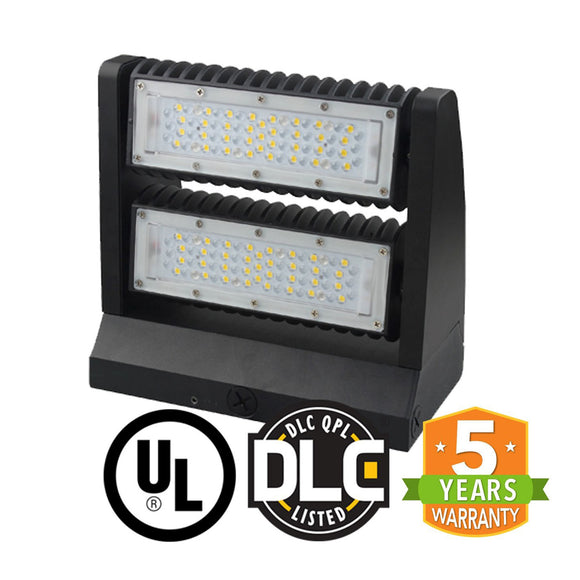 80W LED Rotatable Wall Pack Outdoor Entrance Courtyard Building Light -UL DLC - 4000k - Green Solar LED