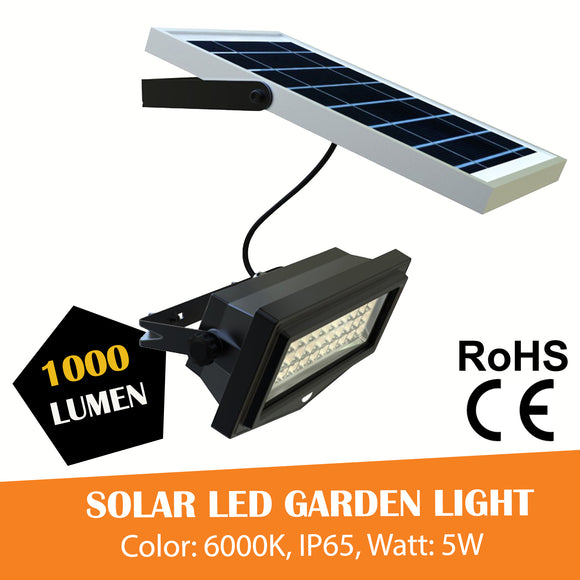 Solar LED Garden Flood Light PIR Motion Sensor Security Light, 6000K, 1000 Lumens - Green Solar LED