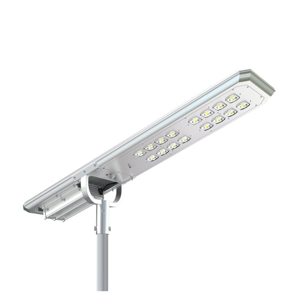 100W Solar LED Street Light 10,000 Lumens, 3 Programmable Lighting Modes - Green Solar LED