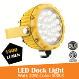 20W LED Dock Light for Warehouse, Spot Flood Light 1800 Lumens, 5000K - Green Solar LED