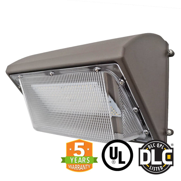 80W LED Wall Pack Light Bulb, Semi Cut, Forward Throw, DLC - Green Solar LED