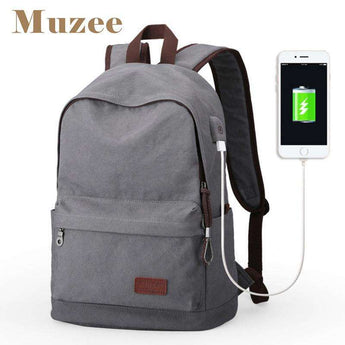 Vintage Canvas Laptop Backpacks nrog USB Charging Chaw nres nkoj