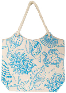 Truly Nat/Blue Canvas Tote