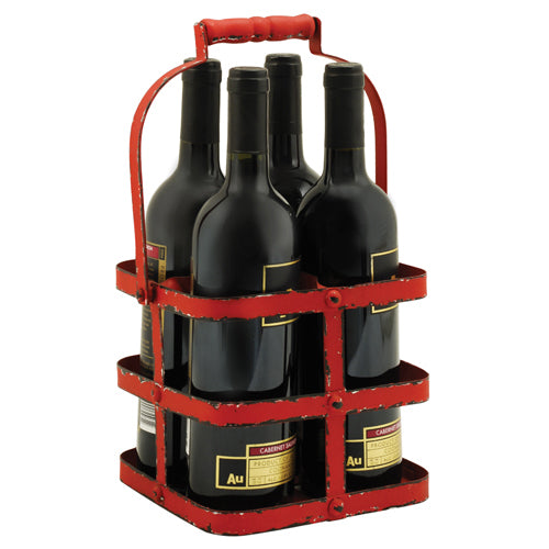 Rustic Farmhouse: Big Red 4 Bottle Carrier - Rare Crush