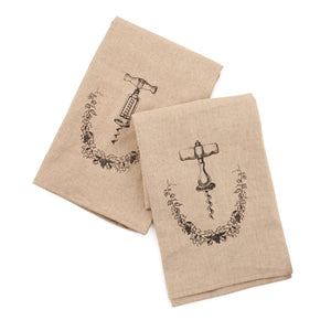 Grapevine Linen and Cotton Corkscrew Icon Towel Set by Twine - Rare Crush
