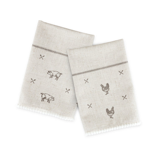 Rustic Farmhouse Linen Napkin Set by Twine - Rare Crush