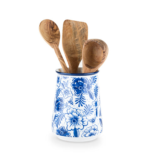 Indigo Floral Utensil Holder by Twine - Rare Crush
