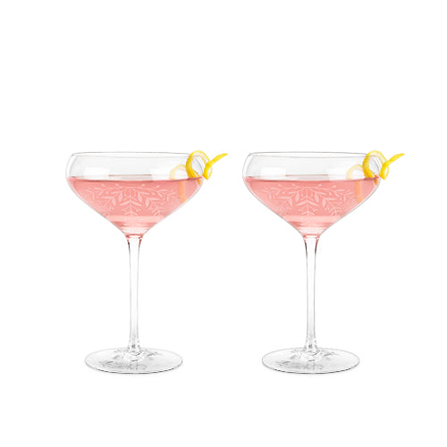 Garden Party: Floral Crystal Cocktail Coupe Set by Twine - Rare Crush
