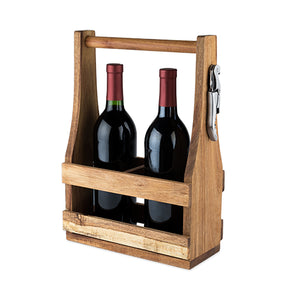 Country Home: Acacia Wood Wine Caddy by Twine - Rare Crush